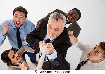concept, multi-ethnique, equipe affaires