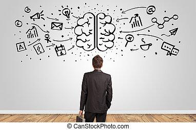 concept, mur, surchargé, regarder, cerveau, directeur