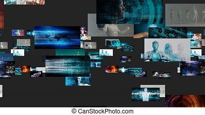 concept, mur, vidéo, numérique, contenu, commercialisation