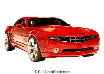 Concept Muscle Car - A fast sports car isolated on a white...