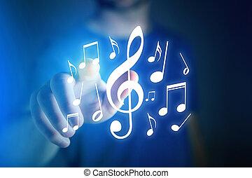 concept, -, musique, appareil, listenning, technologie