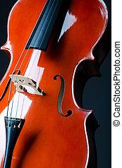 concept-, muziek, op, cello, afsluiten