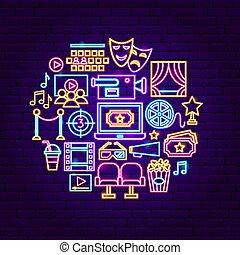 concept, néon, cinéma