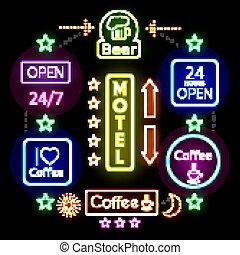 concept, néon, faisant publicité signes