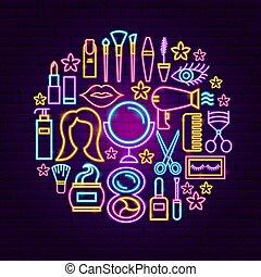 concept, néon, produits de beauté