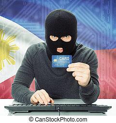 concept, national, -, drapeau, fond, cybercrime, philippines