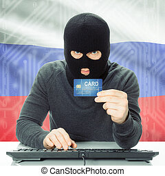 concept, national, -, drapeau, fond, cybercrime, russie
