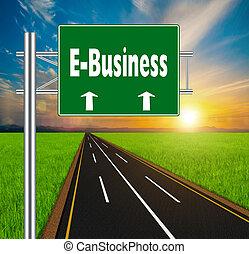 concept, naturel, e-affaires, signe, vert, route, doux, paysage, bac