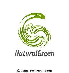 concept, naturel, lettre g, résumé, initiale, illustration, conception, gabarit, logo, vert