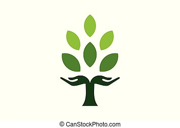 concept, natuur, boompje, hand, groene, logo