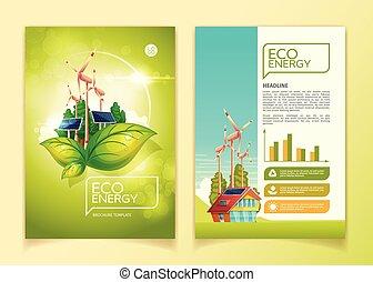 concept, natuur, eco, energie, illustratie, vector, groene, mal, informatieboekje , opslag
