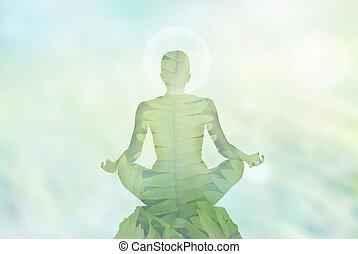 concept, natuur, energie, vrouw, achtergrond, meditatie, hoofd, zacht, abstract, blootstelling