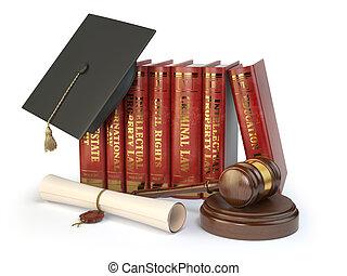 concept., nauka, pola, gavel, sprawiedliwość, kapelusz, odizolowany, dyplom, biały, sędzia, różny, książki prawa, skala