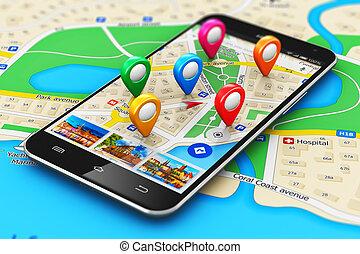 concept, navigatie, navigatiesysteem