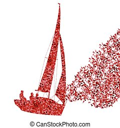 concept, navigation yacht, vecteur, fond, bateau, fait, fragments, bateau
