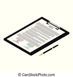 concept., nda, achtergrond., isometric, aanzicht, postzegels, witte , vrijstaand, document, overeenkomst, niet-onthulling