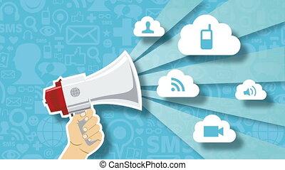 concept, netwerk, animatie, sociaal, technologie, markt