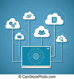 concept, netwerk, gegevensverwerking, distributed, draadloos, vector, wolk