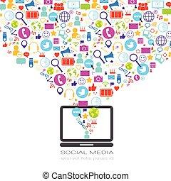 concept, netwerk, iconen, media, draagbare computer, sociaal, computer, achtergrond, communicatie, witte
