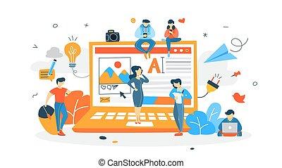 concept, netwerk, illustratie