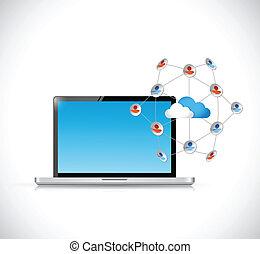 concept, netwerk, media, draagbare computer, illustratie, sociaal