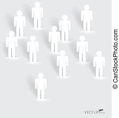 concept, netwerk, mensen, papier, knippen, vector, sociaal,...