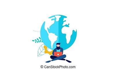 concept, netwerk, online, animatie, sociaal, man