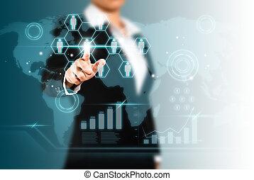 concept, netwerk, scherm, sociaal, beroeren, technologie