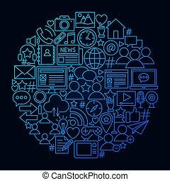 concept, netwerk, sociaal, cirkel, lijn, pictogram