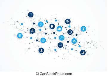 concept, netwerk, spullen, iot, verbinding, ontwerp, digitale , vector., internet, smart