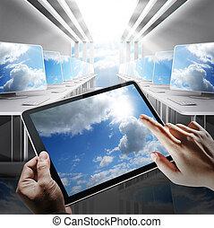 concept, netwerk, wolk