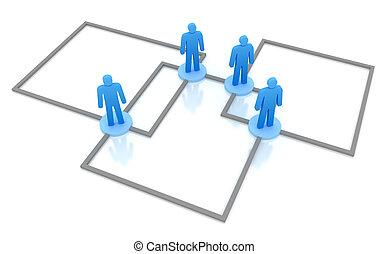 concept., netwerk, zakelijk, vrijstaand