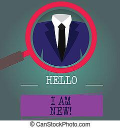 concept, new., tekst, below., je, label, newbie, etiket, vergroten, onbekend, schrijvende , inspecteren, tuxedo, vergroten, introducerend, foto, zakelijk, het tonen, glas, woord, team, hallo
