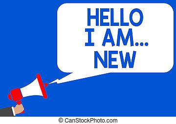 concept, new., tekst, je, boodschap, blauwe , draaiboek, schrijvende , spreker, vergadering, publiek, veelvoudig, zakelijk, arbeider, am..., introduceren, woord, school, announcement., werken, lijnen, groet, hallo, fris, verklaren