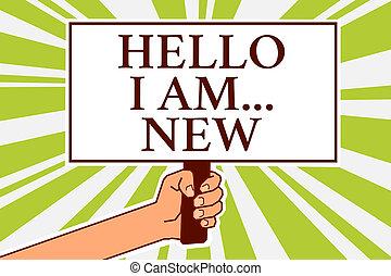concept, new., tekst, kennisgeving, je, design., schrijvende raad, vergadering, scripted, kaart, richting, zakelijk, symbool, arbeider, am..., introduceren, school, woord, signaal, werken, groet, aanwijzing, fris, hallo