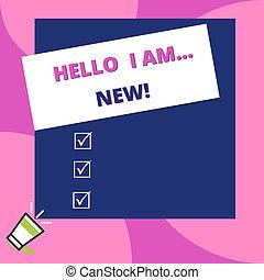 concept, new., tekst, telefoon, dons, plein, leeg, schrijvende , corner., boven, megafoon, rechthoek, beginnen, gebruikt, zakelijk, groot, stok, woord, groet, of, gesprek, kleine, hallo, links