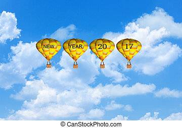Concept New Year 2017,Text 2017 on balloon blue sky background