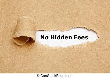 concept, non, papier déchiré, honoraires, caché