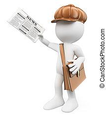 concept., notícia, branca, tarde, paperboy, pessoas., 3d