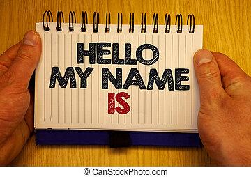 concept, notepad., tekst, je, informatie, ideeën, schrijvende , is., papieren, nieuw, vergadering, iemand, zakelijk, introduceren, belangrijk, naam, woord, zich herinneren, houten, presentatie, berichten, mijn, hallo