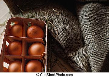 concept, nourriture organique, oeufs, texture, burlap., arrière-plan., bois, frais