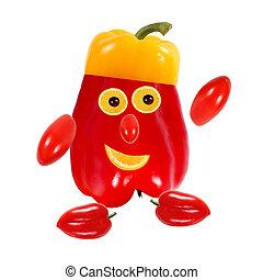 concept., nourriture, portrait, fait, rigolote, pepper., créatif