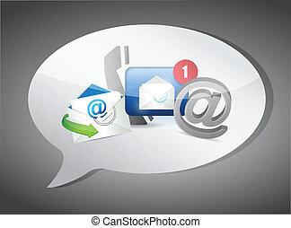 concept, nous, contact, illustration, message, bulle