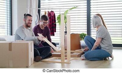 concept., nouveau, jeunes, maison, partage, montage, maison...