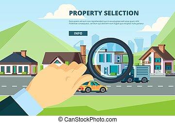 concept, nouvelle propriété, recherche, mortage, loyer, ...