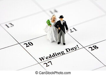 concept:, novia y novio, en, calendario