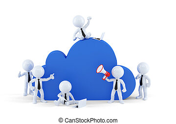 concept., nuage, business, calculer