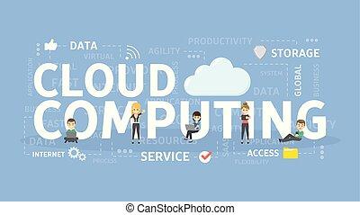 concept., nuage, calculer