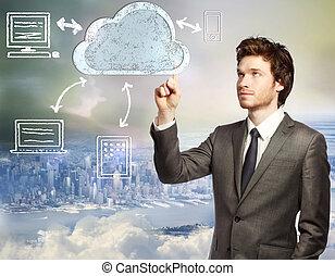 concept, nuage, calculer