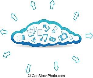 concept, nuage, fond, calculer